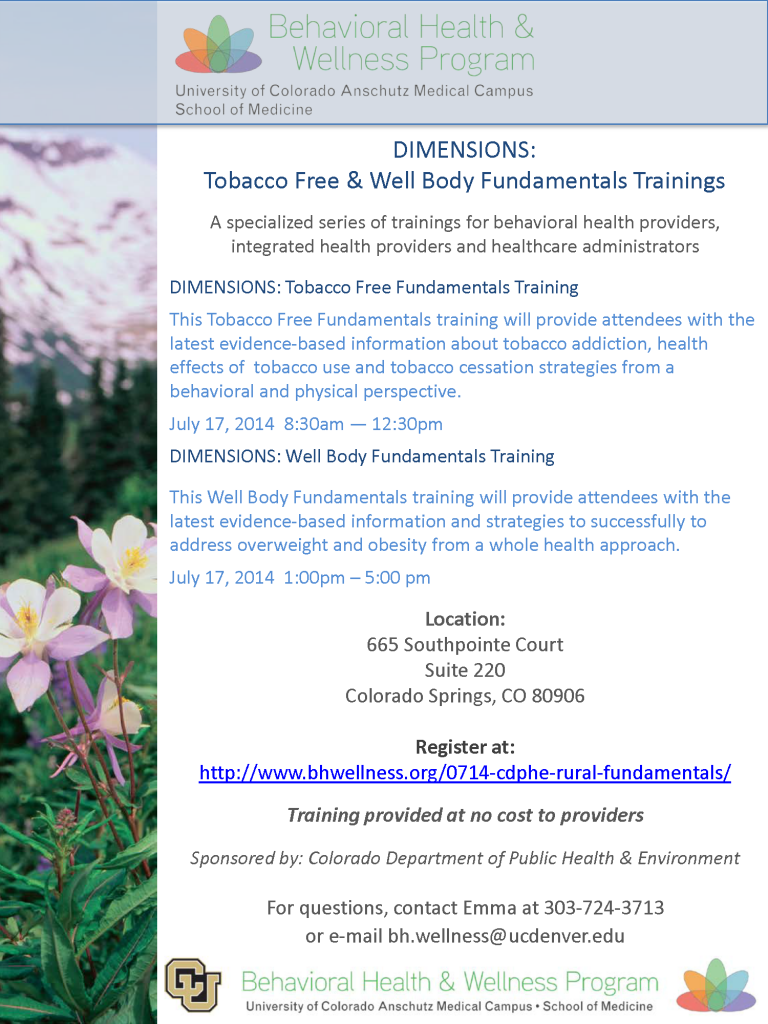 BHWP DIMENSIONS Fundamentals Trainings - July 17