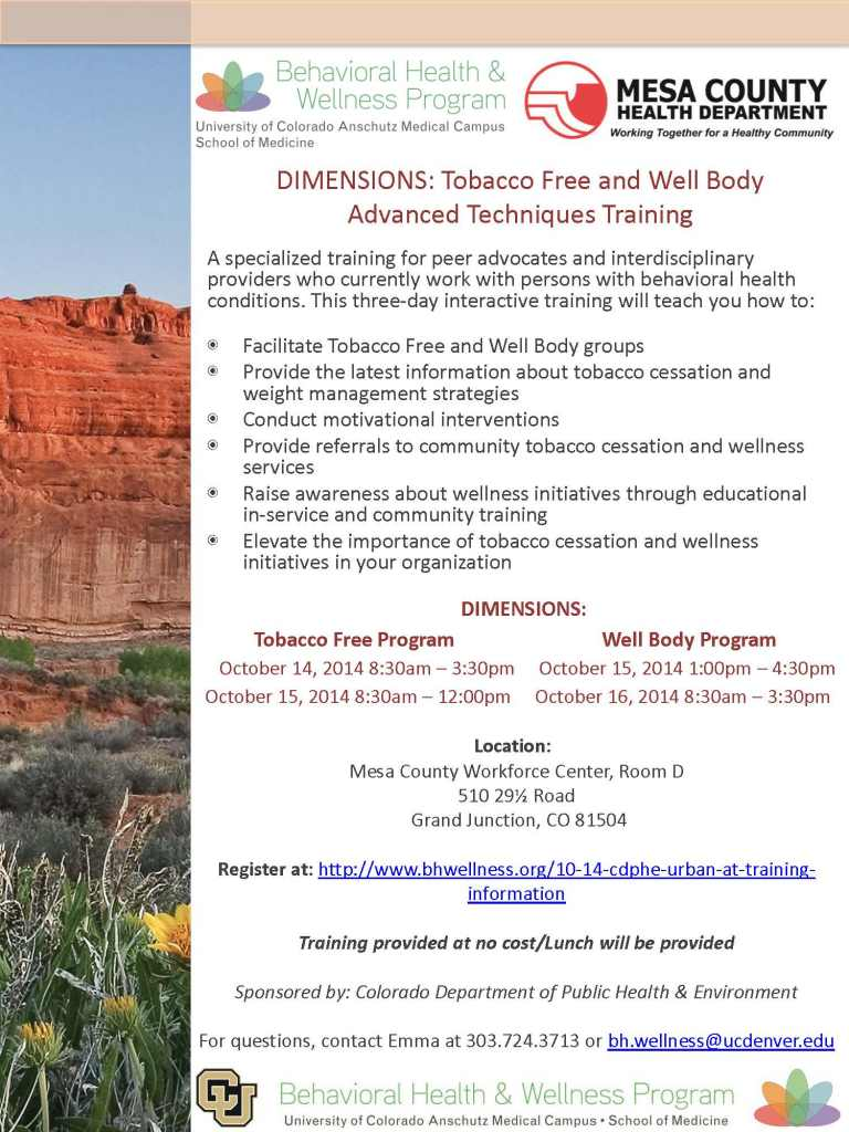 DIMENSIONS AT Tobacco Free and Well Body Trainings - Durango CO